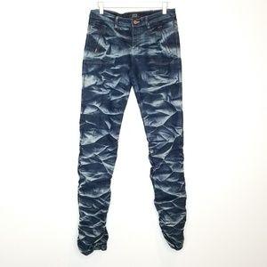 Crest Acid Wash Scrunched Ruched Jeans